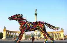 Animalistic Wooden Slat Sculptures
