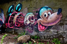 Skeletal Comic Street Art