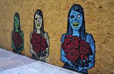 Satirical Skeletal Street Art