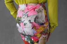 Cat-Printed Mini Skirts