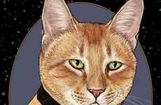 Sci-Fi Feline Drawings