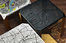 Map-Engraved Side Tables