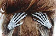 Skeletal Hand Hair Clips