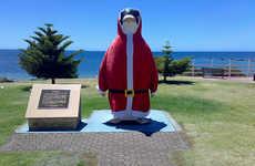 Penguins Dressed in Santa Suits