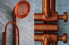 Trumpet-Inspired Shower Heads