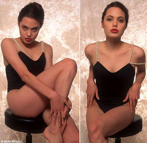 Angelina Jolie: Boobless Swimsuit model at 16