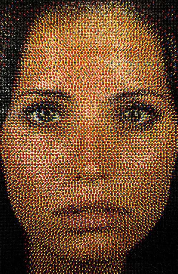 Colorful Thumbtack Mosaic Portraits