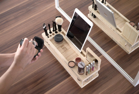 Bamboo Makeup Docking Stations