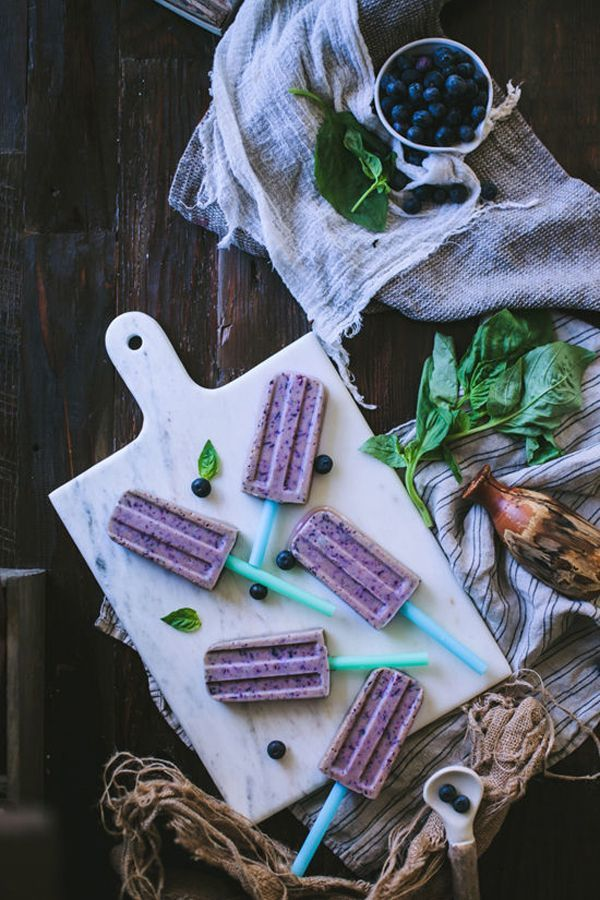 Basil Blueberry Popsicles : blueberry popsicles