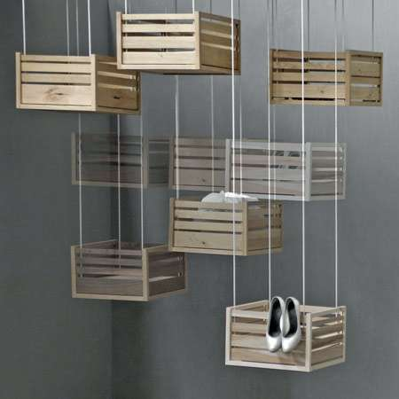 Hanging Crate Storage- Hoog En Droog Offers Innovative Solution for Clutter